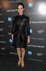 Lucy Liu wore this uniquely adorned LBD to the Tribeca Film event.