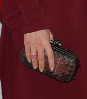 Megan Fox matched her snakeskin Bottega Veneta clutch to her burgundy dress.