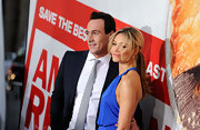 Katrina Bowden attended the 'American Reunion' premiere wearing her hair in a long sleek ponytail with lengthy center parted bangs.