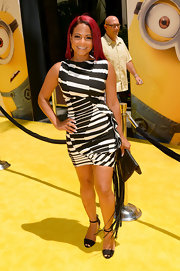 Christina Milian worked it in a figure-hugging black-and-white print dress at the premiere of 'Despicable Me 2.'