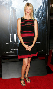 Laura Dern was casual yet cute in a black and red striped mini dress during the premiere of 'Everest.'