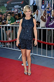 Elsa sparkled on the red carpet of the premiere of 'Fast and Furious 6,' where she wore this midnight blue embellished top and matching shorts.