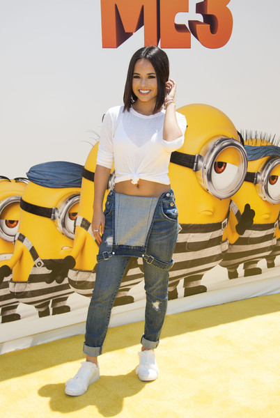 More Pics of Becky G Overalls (1 of 3) - Pants & Shorts Lookbook - StyleBistro [despicable me 3,photo,yellow,orange,jeans,fashion,fun,denim,footwear,animation,t-shirt,shoe,arrivals,becky g,california,los angeles,universal pictures,illumination entertainment,afp,premiere]