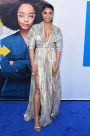 Regina Hall complemented her dress with a pair of silver platform sandals by Stuart Weitzman.