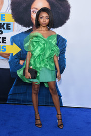 Skai Jackson couldn't be missed in this strapless ruffle mini dress by Ronald van der Kemp Couture at the premiere of 'Little.'