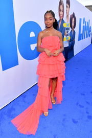Marsai Martin looked like a princess in a strapless pink gown with a high-low hem at the premiere of 'Little.'