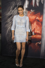 Paula Patton looked enchanting in a beaded baby-blue mini dress by Martha Medeiros at the premiere of 'Warcraft.'