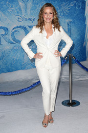 Melora Hardin opted for an all-white pantsuit and button-down ensemble when she attended the premiere of 'Frozen.'