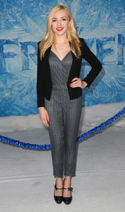 Peyton List looked cute in her textured gray Parker jumpsuit at the premiere of 'Frozen.'
