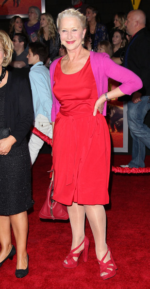 Helen Mirren was pretty as a picture in a red frock paired with matching platform sandals.