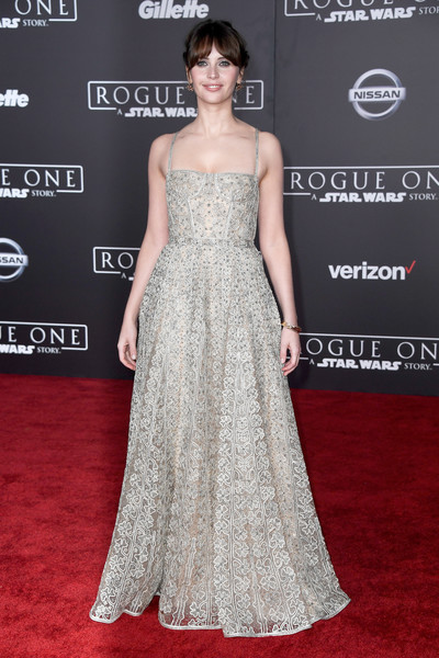Felicity Jones was a sight to behold in an intricately embroidered corset gown by Christian Dior at the premiere of 'Rogue One: A Star Wars Story.'