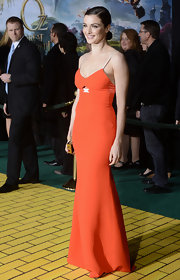 Rachel Weisz looked simply stunning in this streamlined orange gown at the 'Oz' premiere in Hollywood.