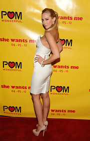 Louise Linton stepped onto the red carpet at the premiere of 'She Wants Me' wearing a pair of nude platform pumps.
