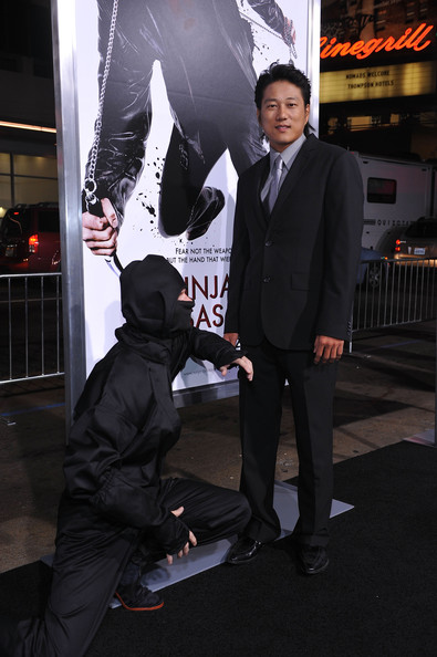 Sung Kang looked oh-so-elegant in a dark gray three-piece suit and silver tie.