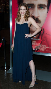Greta Gerwig was boho-glam in a flowy blue evening dress by Vionnet at the premiere of 'Her' in LA.
