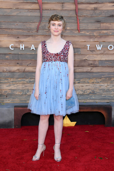 Sophia Lillis got glam in a pastel-blue baby doll dress with red beading for the premiere of 'IT Chapter Two.'