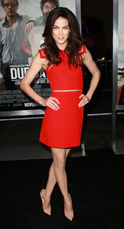 Michelle Monaghan rocked the red carpet in the nude Christian Louboutin pumps she paired with her fire engine red Versace dress. The look was both on trend, and ultra flattering.