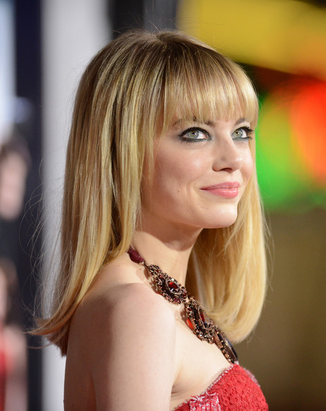 More Pics of Emma Stone Medium Straight Cut with Bangs (3 of 48) - Emma Stone Lookbook - StyleBistro