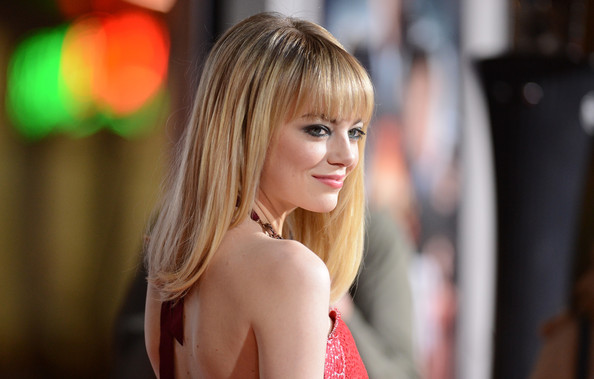 More Pics of Emma Stone Medium Straight Cut with Bangs (1 of 48) - Emma Stone Lookbook - StyleBistro