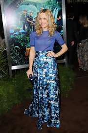 Rachel McAdams got into theme at the premiere of 'Journey 2' in a long floral print skirt.
