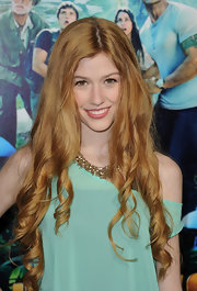 Katherine McNamara wore her ultra-long hair in sleek spiral curls at the premiere of 'Journey 2: The Mysterious Island.'