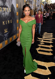 Christina Milian styled her dress with a multicolored box clutch by Ashlyn'd.