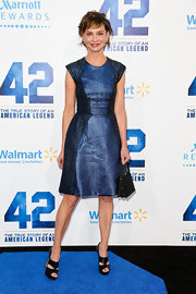 Calista Flockhart stunned in a royal blue frock at the premiere of '42.'