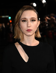 Taissa Farmiga looked punky with her slicked-down 'do at the premiere of 'The Mule.'