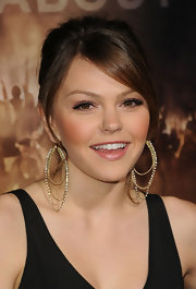 Aimee Teegarden arrived at the premiere of 'Project X' wearing a touch of pale pearlescent pink lipstick.