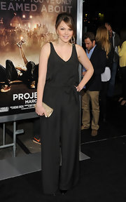 Aimee Teegarden wore this loose black jumpsuit to the 'Project X' premiere.