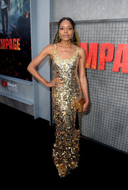 Naomie Harris was a standout in a gold sequin gown by Miu Miu at the premiere of 'Rampage.'