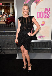 Heather Morris looked foxy at the premiere of 'War Dogs' in a little black dress with a sheer, bead-striped bodice and a tulip skirt.