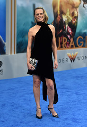 Robin Wright looked hip in an asymmetrical black halter dress by Saint Laurent at the premiere of 'Wonder Woman.'
