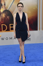 Danielle Panabaker went modern in a midnight-blue AQ/AQ mini dress with an asymmetrical hem for the premiere of 'Wonder Woman.'