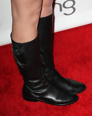 Stefanie Scott arrived on the red carpet of the premiere of 'Bully' in chic black leather boots.