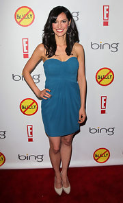 Charlene Amoia arrived at the premiere of 'Bully' wearing a classic pair for beige platform pumps.