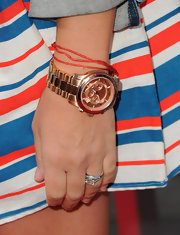 Busy Philipps accessorized her striped nautical dress with an oversize rose gold watch at the premiere of 'Our Idiot Brother.'