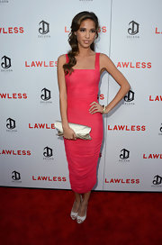 Kelsey Chow opted to wear a ruched pink tea-length dress to the 'Lawless' premiere.