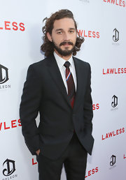 Shia LaBeouf's striped red tie was a colorful addition to his elegant ensemble at the premiere of 'Lawless.'