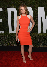 Stana Katic made sure her dress stood out by pairing it with simple nude pumps.