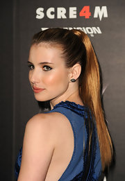 Emma Roberts paired her sleek look with a polished ponytail that was fastened at the crown.