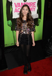 Rowan Blanchard chose a pair of black shorts with silver trim and gold buttons to complete her outfit.