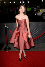 Sarah Hyland was a sweet stunner at the 'Vampire Academy' premiere in a strapless Zac Posen dress with peplum detailing.