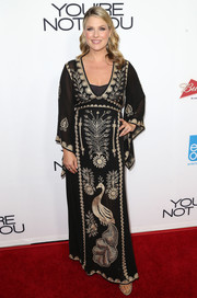 Ali Larter brought some exotic glamour to the 'You're Not You' premiere with this embroidered black maternity caftan.
