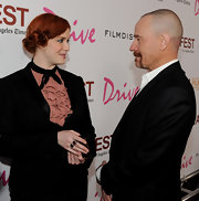 Christina Hendricks attended the premiere of her film 'Drive' wearing a sterling silver Wonderland Double Lollipop ring in rose and black onyx.