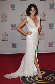 This beaded dress fit Bianca Soto like a glove. The plunging neckline and high slit made this one hot look.