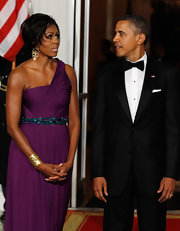 Michelle Obama's beaded blue belt was a chic finish to an already fab evening dress.
