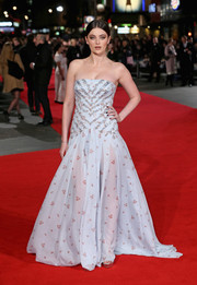 Millie Brady donned a printed pale-blue strapless gown with an embellished bodice for the European premiere of 'Pride and Prejudice and Zombies.'