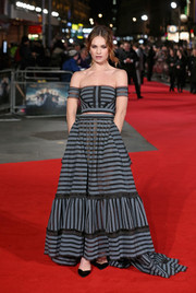 Lily James worked the red carpet in a gray and black striped off-the-shoulder top by Erdem at the European premiere of 'Pride and Prejudice and Zombies.'
