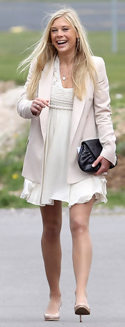 Chelsy Davy looked angelic at Prince Harry's Army Pilot's Course graduation in a floaty cream chiffon dress.